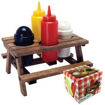 Mini picnic tabel condiment set for Porta ketchup